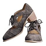 JITUUE Oxford Shoes for Women Chunky Heels Brogue Leather Saddle Dress Shoes Lace up Vintage Wingtip Ankle Boots Grey 9.5 US