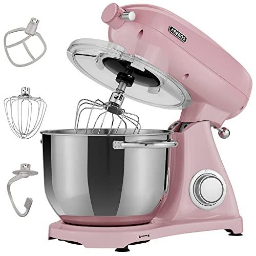 Arebos Retro Küchenmaschine 1800W Pink...