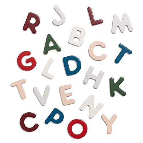Micki 10218200 Magnetbuchstaben Senses - 51 Bunte Holz Alphabet Magnete – ca. 3 cm - ab 3 Jahre – Swedish Design