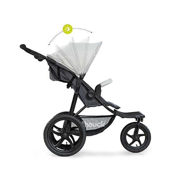 Hauck Runner, Jogger Style, 3-Wheeler, Pushchair with Extra Large Air Wheels, Foldable Buggy, For Children from Birth to 25kg, Lying Position - Silver Grey Hauck LONG USE - This 3-wheel pushchair is suitable from birth (in lying position or in combination with the 2in1 Carrycot) and can be loaded up to 25kg (seat unit 22 kg + basket 3 kg) ALL-TERRAIN - Thanks to the big air wheels - back 39cm diameter, front 30 diameter – as well to the swiveling and lockable front wheel, this jogger style pushchair can be used on almost any terrain COMFORTABLE - Thanks to adjustable backrest and footrest, sun canopy, large shopping basket, and height-adjustable push handle 9