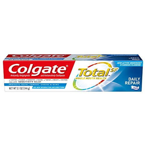 Colgate Total Toothpaste with Fluoride, Multi Benefit Toothpaste for Gums and Cavity Protection, Daily Repair - 5.1 Ounce