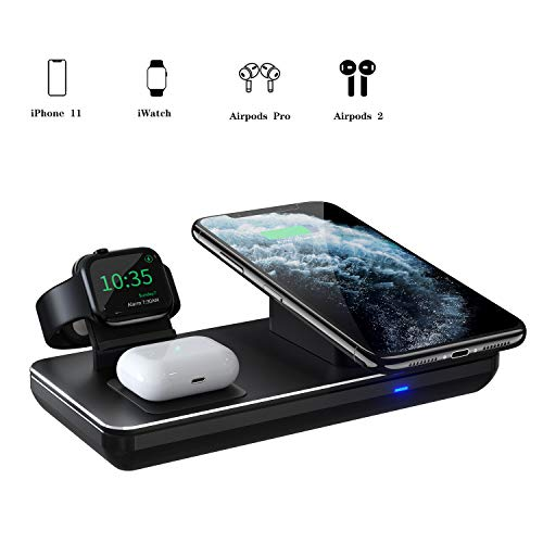 Wireless Charging Station for Apple Watch, iPhone & AirPods Pro, Wireless Charger Compatible with iPhone 11/11 Pro Max/XR/XS Max/Xs/X/8, iWatch 5/4/3/2/1
