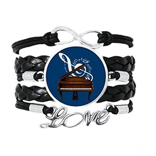 OFFbb-USA Pulseira de música de instrumento clássico para piano, partituras, amor, acessório de couro torcido, corda de tricô, presente