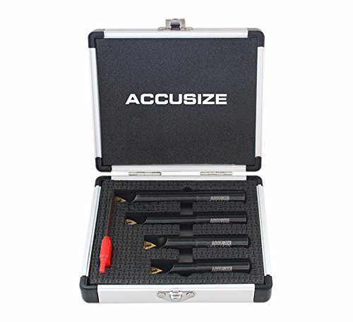 Accusize Industrial Tools 4 Pc 1/2'' Round Shank Indexable Boring Bar Set with Tcmt21.50 Carbide Inserts, 90 Degree, 2627-9104