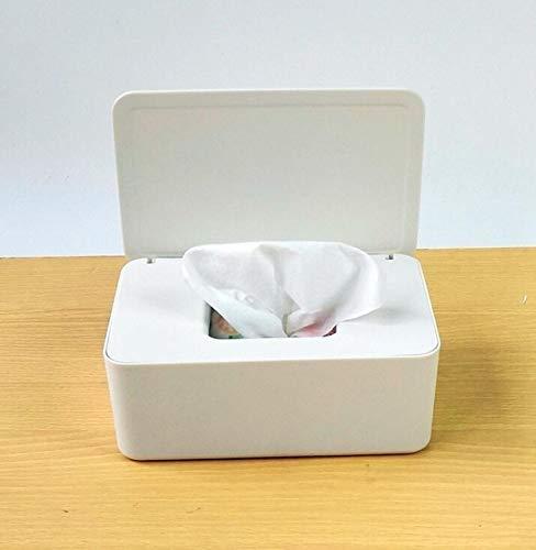 Meijin Caja de pañuelos húmedos para escritorio, con sello de toallitas de bebé, caja de almacenamiento de papel, dispensador de papel para el hogar, a prueba de polvo con tapa (color: blanco)