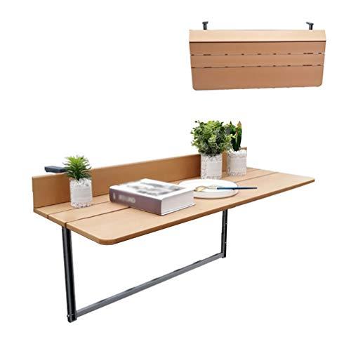 Folding Tables Balkon Geländer Wand-Tisch, multifunktionale Faltbare hängende Computer Studie Tisch, Home Bar Counter, kreative höhenverstellbare Klapptisch (Holzfarbe)