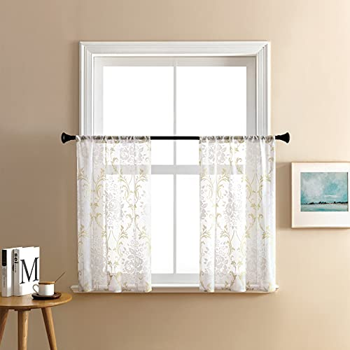 MRTREES Sheer Curtain Tiers 36 inches Long Kitchen Tiers Scroll Printed Damask Design Cafe Curtains Rod Pocket Short Half Window Curtains Flower Print Bathroom Small Window 2 Panels Taupe on White