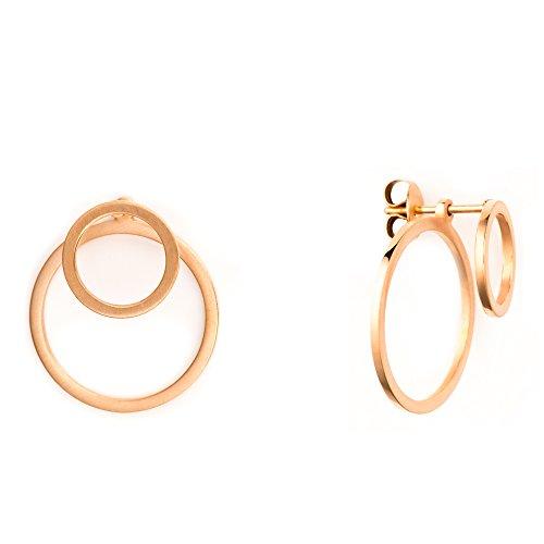 Heideman Ohrringe Damen Ewiger Kreis aus Edelstahl rosegold farbend matt runde Ohrstecker für Frauen 2 in 1 Ohrschmuck Doppelohrringe Doppel vorne und hinten