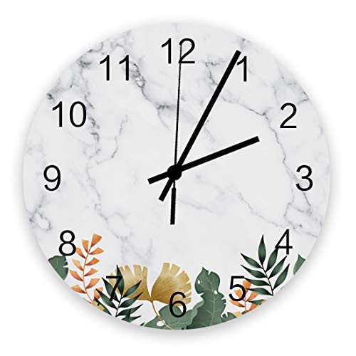 ZOE STORE Modern Wall Clock, Tropical Plants Ginkgo Banana Leaves on The Marble Background Wooden, Silent Non Ticking Art Noiseless Round Wall Clock Diameter 11.8''