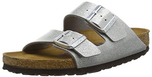 Birkenstock Damen Arizona Birko-Flor Softfootbed Pantoletten, Silber (Magic Galaxy Silver), 35 EU