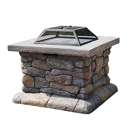 Brasero Exterior Pozo de Fuego Cuadrado de 24 Pulgadas, Barbacoa al Aire Libre, Calentador, Helado, Tres en uno de la terraza con fogata de Metal (Color : Style1)