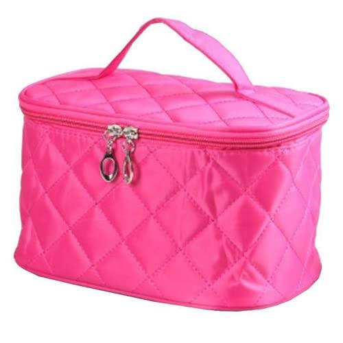 Bolsa de maquillaje de viaje, bolsa de aseo portátil, organizador de cosméticos impermeable con cremallera para mujeres y niñas (rojo rosa)