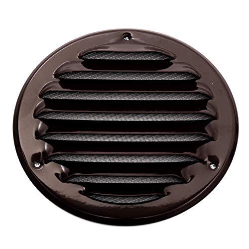 Vent Systems Soffit Vent Cover 5'' Inch Brown - Round Air Vent Louver - Grill Cover - Built-in Insect Screen - HVAC Vents for Bathroom, Home Office, Kitchen