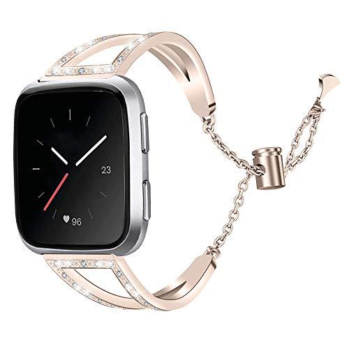 XZZTX Compatibel met voor Fitbit Versa Smart Strap, RVS Strass Vervangende Armband Polsband Compatibel met Fitbit Versa Smartwatch