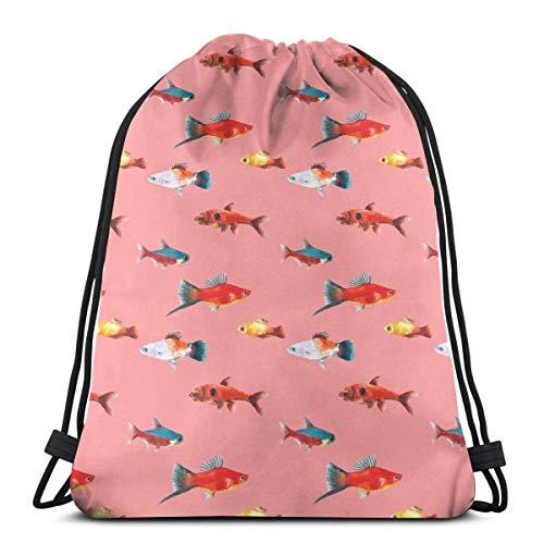 Bingyingne Disegnato a mano senza cuciture sfondo rosso pesce di mare profondo coulisse zaino palestra sacco cinch borsa stringa borsa