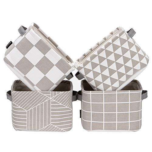 Sea Team Foldable Mini Square New Grey and White Geometric Theme 100 Natural Linen Cotton Fabric Storage Bins Storage Baskets Organizers for Shelves Desks - Set of 4 Grey