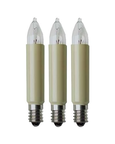 Eltric Glühbirne, 3 W, 23 V, E10, für die Nutzung im Innen- und Außenbereich geeignet, 1 Stück, Elfenbein, dekorative Beleuchtung, Transparent