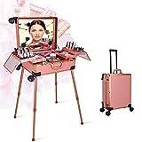 Make-up-Zug-Box mit LED-Leuchten Bluetooth-Lautsprecher Touchscreen-Make-up-Station Portable 4 in 1 Friseur Make-up Vanity Trolley