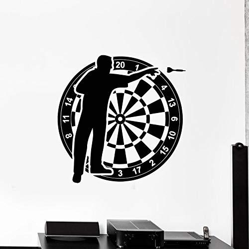Darts Spieler Wandtattoo Ziel Schießspiel Club Spielzimmer Schlafzimmer Innendekoration Vinyl Aufkleber kreative Sport Tapete 57x57cm