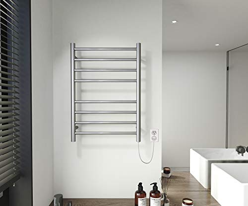SHARNDY Electric Towel Warmer Brushed Heated Towel Rack for Bathroom Wall Mounted Round Drying Rack ETW44-2 UL Certificate, Plug-in, 8 Bars, 201 Stainless Steel, 70W, 27.56x19.69x4.41 inches