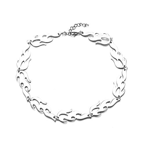 Fire Flame Necklace for Men Hip Hop Choker Trending Punk Chain Streetwear Jewelry