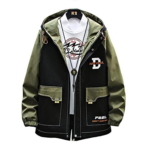MONSFEVBG Chaqueta Hombres Imprimir Chaqueta con Capucha Corea Suelta Primavera Autumn Jacket Chaqueta Casual Chaqueta Hombres Army Green XXL