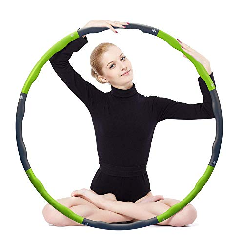 QYWSJ Hula Hoop, Fitness Plegable, Peso Ponderado, 1 Kg, Empalme de 8 Secciones, Ancho Ajustable (26.4-34.6in), para Jóvenes Adultos, Ejercicio de Gimnasia para Damas