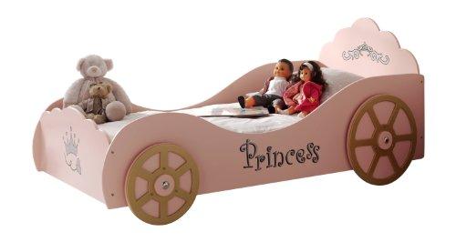 Vipack SCPK200 Kutschenbett, Circa 210 x 120 x 105 cm, Liegefläche 90 x 200 cm, lackiert aufgedruckte Optik, rosa