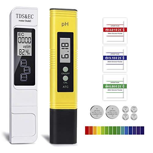 GuDoQi Tester qualità Acqua, TDS PH EC Temperatura 4 in 1 Set, Digitale Misuratore PH, TDS&EC Temperatura Tester, Auto Calibrazione per Acqua Potabile