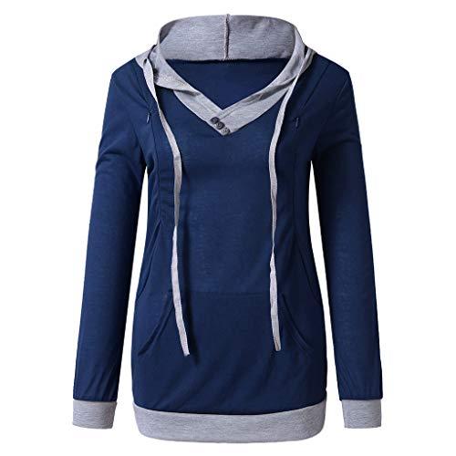 Manadlian Sweat à Capuche d'allaitement Maternité pour Femme - T-Shirts de Poche Kangourou Hoodie Sweatshirt - Automne Dessus de Couture