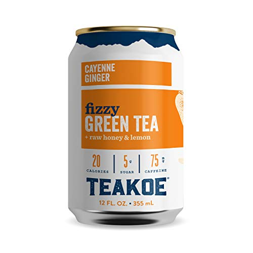 TEAKOE Fizzy Tea | 100% Organic Green Tea w/ Cayenne & Ginger | Brewed Iced Tea, Lemon Juice & Raw Honey | Cleansing Tea Energy | 20 Calories, 5g Sugar, 75mg Caffeine (12/12 fl oz Cans)