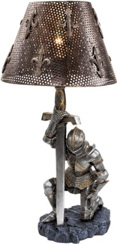 XoticBrands 22' Gothic Medieval Knight Sculpture Lamp - Set of 2