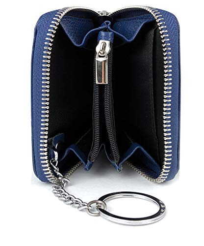Premium 3in1 RFID Geldbörse Leder Schlüssel-Kredit-Karten-Etui Schlüssel-Mäppchen-Tasche-Anhänger Geldbeutel Portmonee Portemonnaie Brieftasche rundum Reißverschluss Damen Herren blau klein Mini