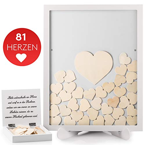 Fairytale Wedding  Gästebuch Hochzeit in schönem Holzrahmen - Hochzeitsgästebuch inkl. Herzen aus...