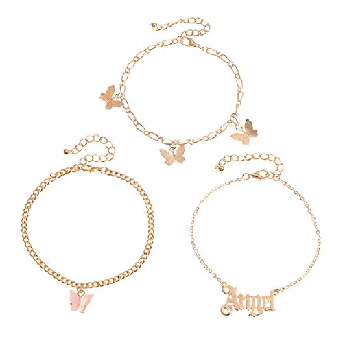 3 Pcs Butterfly Anklet Set Angel Name Anklet for Women Girls Adjustable Personalized Anklet Beach Foot Anklet Bracelet Jewelry