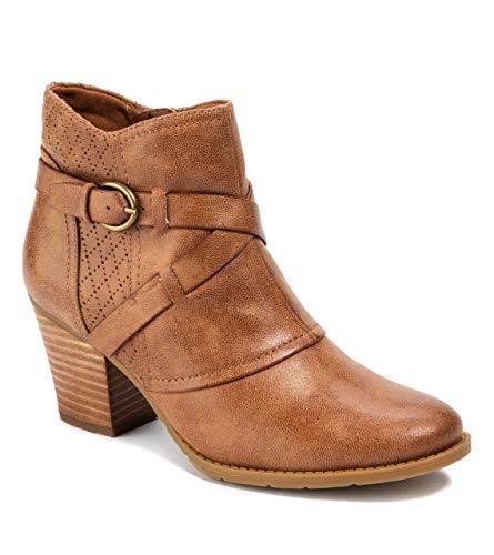 BareTraps Womens Launa Faux Leather Block Heel Booties