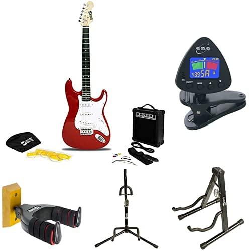 RockJam Superkit de guitarra eléctrica + ENO Clip para afinador de guitarra y ukelele + RockJam Aframe Soporte de guitarra + Soporte de guitarra + Soporte de guitarra + TwinPack Soporte de guitarra