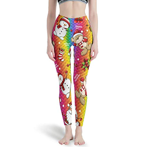Gamoii - Leggings de yoga para mujer, diseño de Papá Noel, muñeco de nieve, estampado 3D, pantalones de yoga, cintura alta, pantalones pirata blanco XXXL