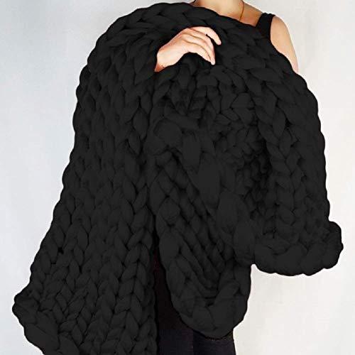 Gebreide deken groot, grof plaid chunky gehaakte breideken knit blanket handgemaakt thuis decoratie cadeau A