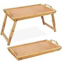 homfa vassoio colazione letto pieghevole di bambù, tavolino con gambe regolabile per pc, notebook 50 * 31.3*(20.5-30) cm