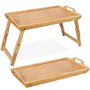 Homfa Bandeja bambú Plegable para Comida Mesa Comida Soporte bambú para Cama 50x31.3X(20.5-30) cm