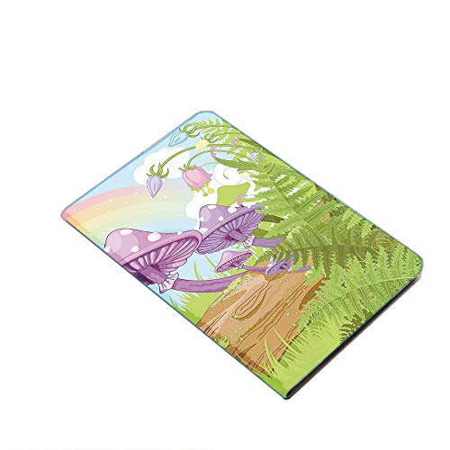 Case for iPad Air 10.5' 2019 (3rd Generation) & iPad Pro 10.5 2017,Fantastic Scenery with Wood Timber on the Grass and Rainbow Fungus Herbs Leaves Weed Artwork PU Leather Business Folio Cover,with Sta