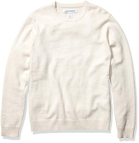 Amazon Essentials Men's Midweight Crewneck Sweater, Off White, Large