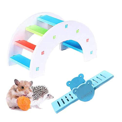MUMAX Hamster Toys, DIY Wooden Rainbow Bridge with PVC Seesaw Sport Exercise Toys Set Great for Hamster Nest Mouse Mic Hedgehog Lizard Small Animals (Random...