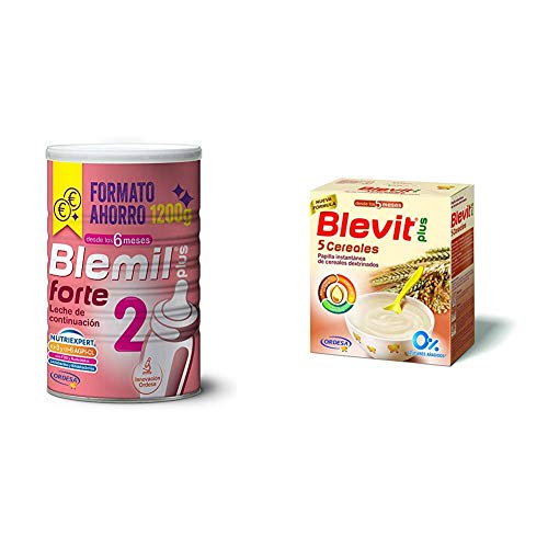 Blemil Plus Forte 2, Leche de continuación para bebé - 1200 gr. + Blevit Plus 5 Cereales para bebé - 2 de 300 gr. (Total 600 gr.)