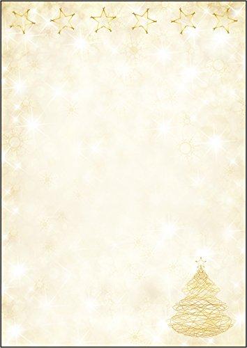 SIGEL DP083 Papel navideño, árbol y estrellas de Navidad, 21 x 29,7 cm, 90g/m², amarillo y dorado, 100 hojas