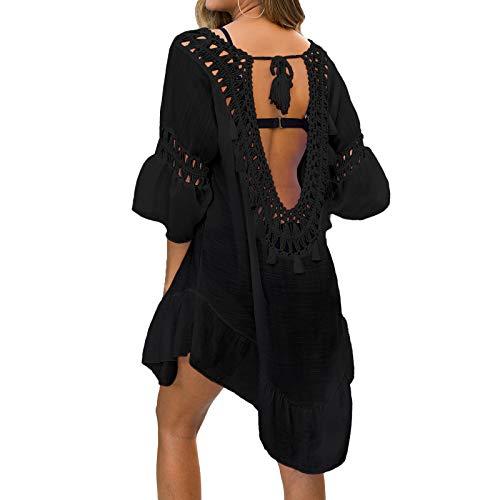 NIBESSER Strandkleid Damen Strandponcho Sommer Bikini Cover Up Strandurlaub Badeanzug Quasten Rückenfrei Strand Vertuschen Shirt Mini Kleid Beachwear (Schwarz,Plus)