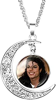Crafting Mania LLC. 1 Michael Jackson Crescent Moon Pendant Necklace with Glass Dome for Gift