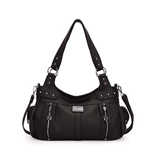 KL928 Damen Handtasche Lässige Schultertasche Umhängetaschen Hobo Taschen Henkeltaschen Leder für Arbeit Schule Shopper Rot (AK19244-3-black)
