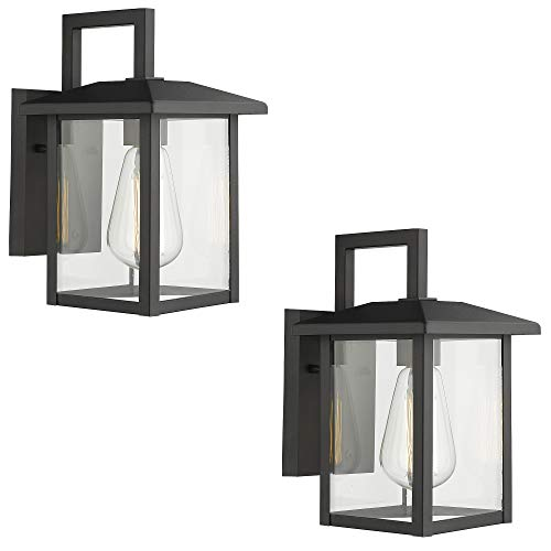 Emliviar Outdoor Lights Wall Mount 2 Pack, Exterior Light Fixtures in Black Finish with Clear Glass, 20064B1-2PK